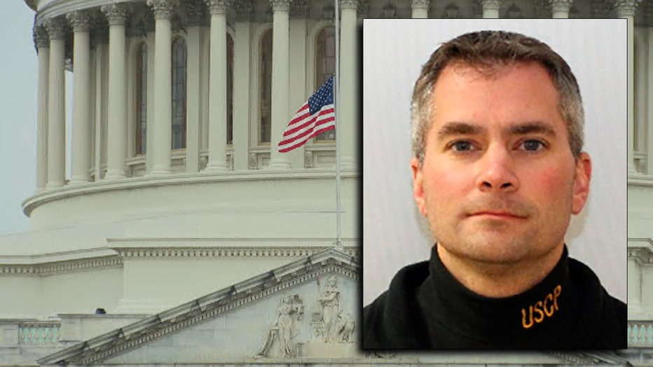 Headshot photo of police officer wearing USCP-branded turtleneck imposed over image of US Capitol