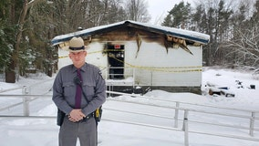 NY state trooper rescues woman in wheelchair from burning house