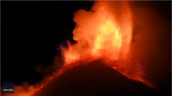 Mount Etna lights up Sicily's night sky with 6th eruption in 8 days