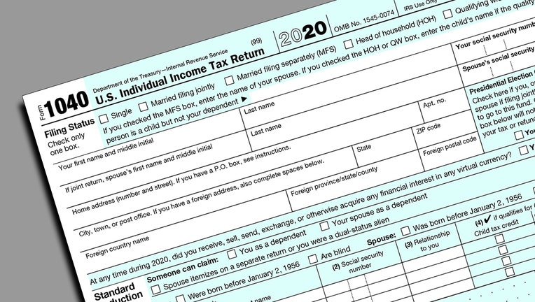 IRS Form 1040 excerpt of top of form