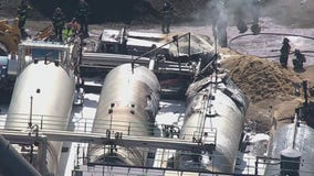 Explosion and fire at asphalt plant on Long Island