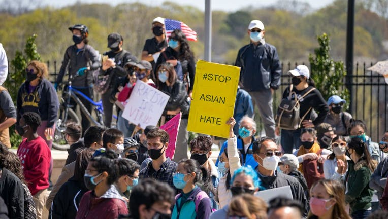 Demonstrators take to the streets to show support for Asian and Pacific Islander communities