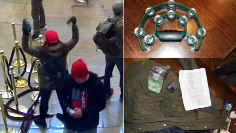 A composite of images released by the Justice Department show Sara Carpenter in the Capitol, her tambourine, and her coat.