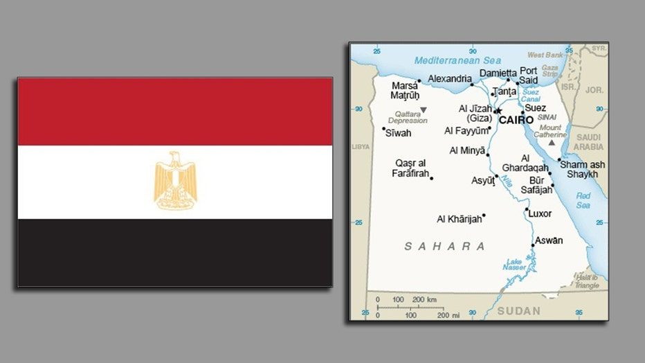 Egypt's red white and black flag with a bird and shield symbol in the center; a map of Egypt with major cities labeled