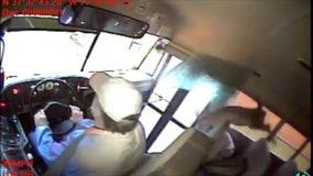 Shocking video captures moment deer crashes through school bus windshield, landing on student