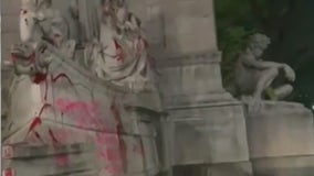 Columbus Circle monument vandalized during anti-police protest