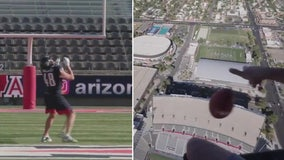 Rob Gronkowski catches football dropped 600 feet out of helicopter, sets world record
