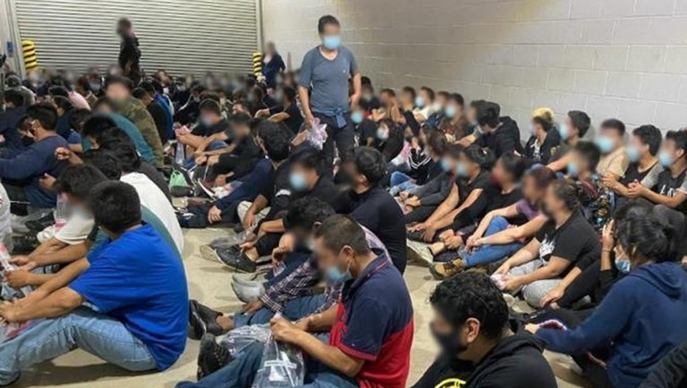A photo released by U.S. Border Patrol shows the 149 found inside a locked tractor-trailer in Texas. (U.S. Border Patrol)