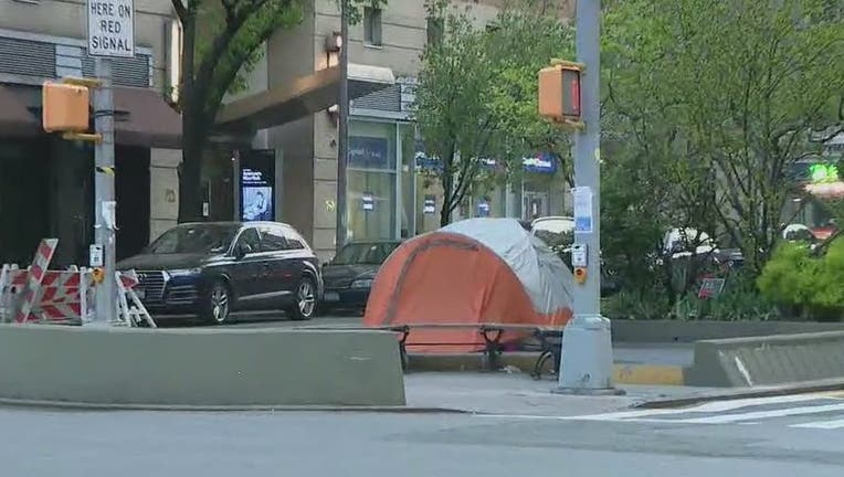 A homeless couple pitched a tent at West 86th Street and Broadway.