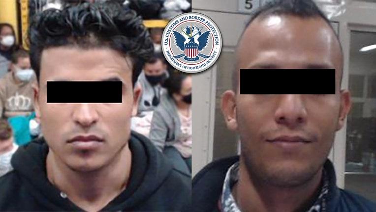 Closeups of two men with black bar hiding their eyes
