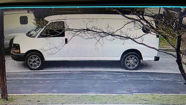 Police are looking for the man seen near this van who exposed himself to a group of girls on Long Island.