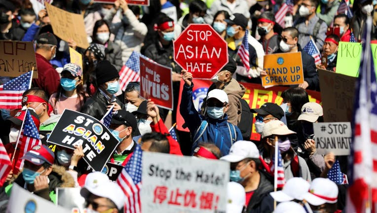 People rally to protest against anti-Asian hate crimes on Foley Square