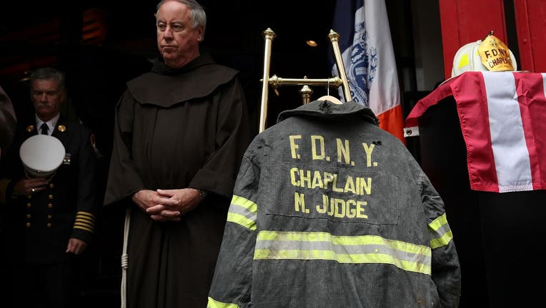 A prayer bench used by a Fire Department chaplain killed in the collapse of the World Trade Center towers was driven to the New York area