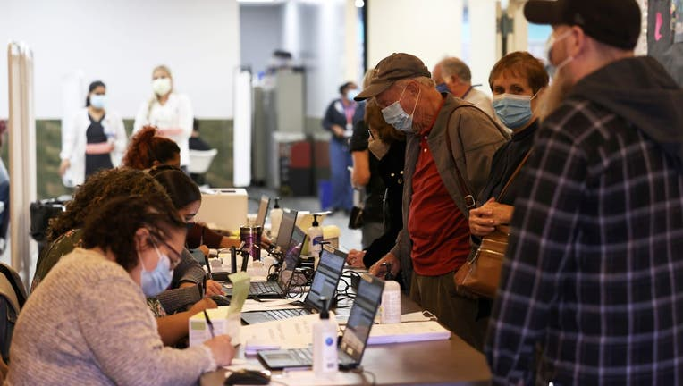 People are checked in at the Northwell Health pop-up coronavirus (COVID-19) vaccination site
