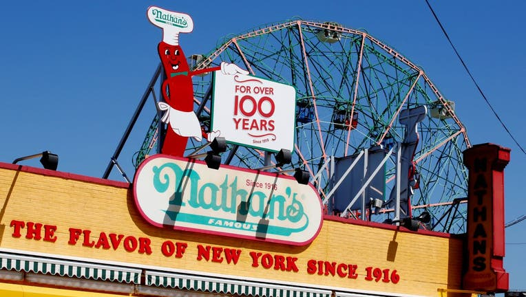 A Nathan's Famous logo is seen at Coney Island.