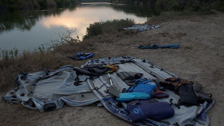 Discarded rafts, used by smugglers to ferry refugees across the Rio Grande River