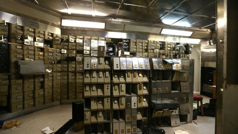 Smashed safe deposit boxes.