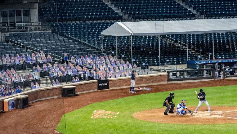 Flushing, N.Y.: The New York Mets have cardboard cutouts of fans in the seats while playing the New York Yankees in a pre-season exhibition game at Citi Field in Flushing, New York on July 18, 2020.