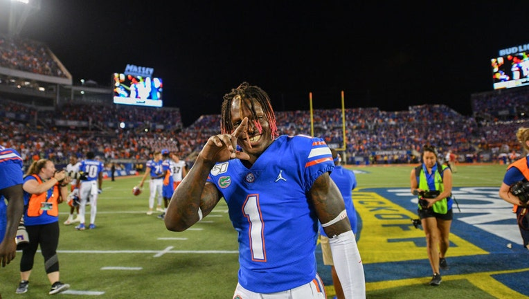 ORLANDO, FL - AUGUST 24: Kadarius Toney #1 of the Florida Gators celebrates after winning against the Miami Hurricanes in the Camping World Kickoff at Camping World Stadium on August 24, 2019 in Orlando, Florida.