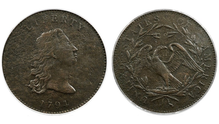 Both sides of a copper coin from 1794; shows a flowing hair portrait of Liberty and the date 1794; reverse side shows a small eagle on a rock within a wreath