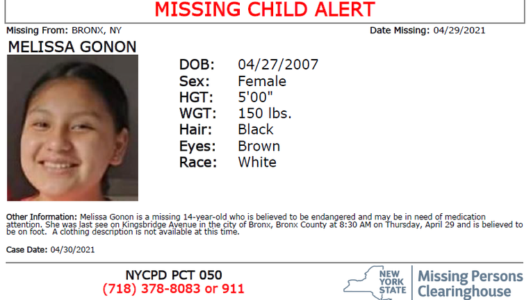 The NYPD says Melissa Gonon, 14, of the Bronx is missing and may be in imminent danger.