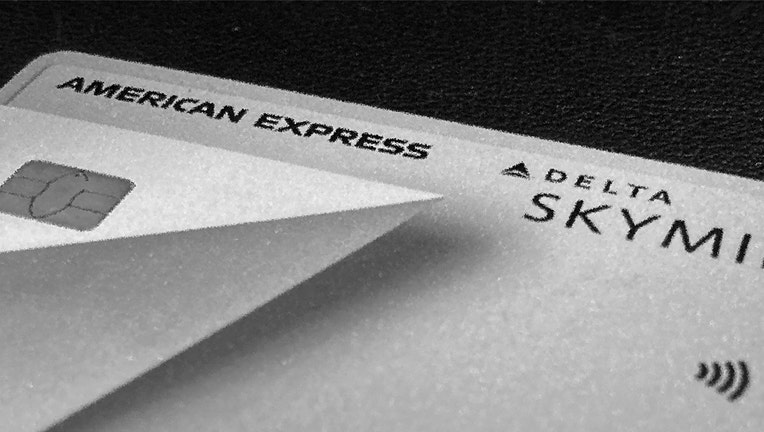 A close-up view of part of an American Express card