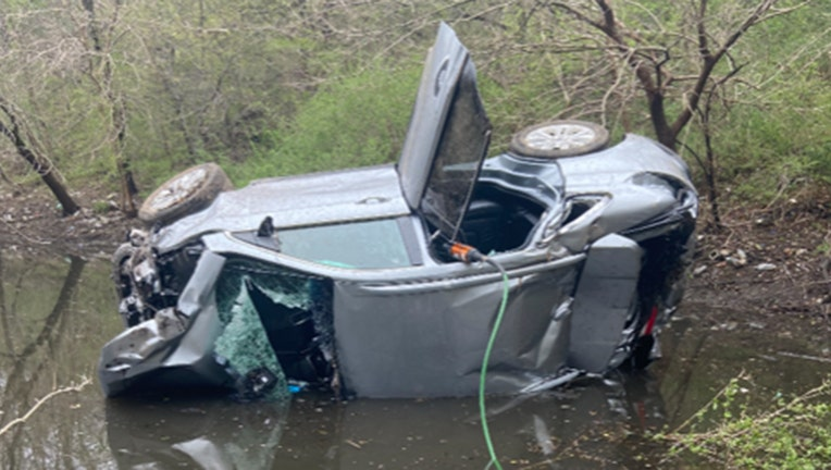 Police rescued a man from a car after a crash on Long Island. (Nassau County Police Department)