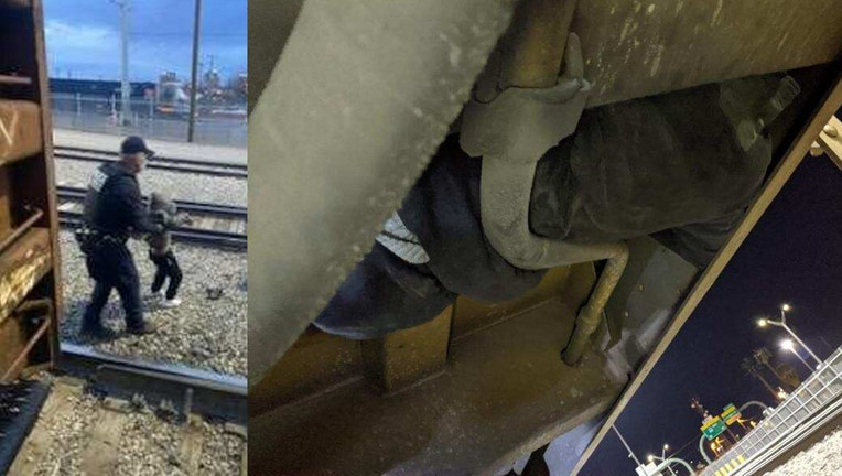 A CBP Officer removes a child from a train (left) and a person hiding inside a train are seen in CBP photos.