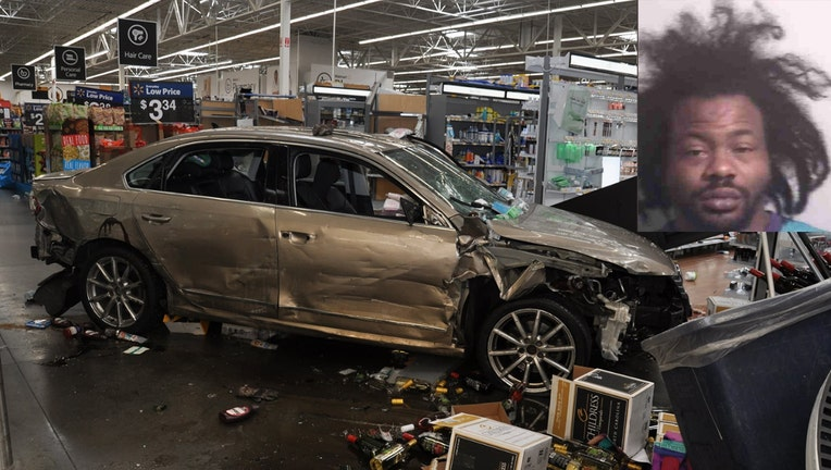 Lacy Cordell Gentry and his smashed car inside the Walmart are shown in photos released by police.(Concord Police Dept.)