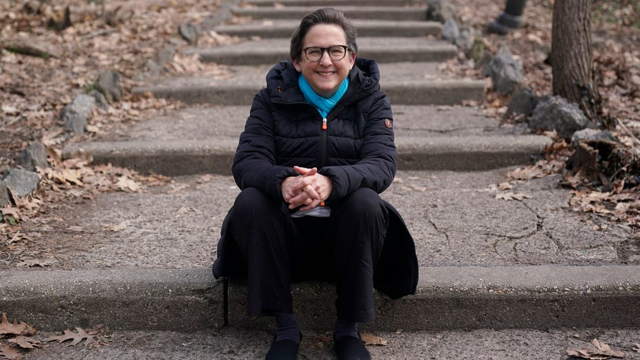 Rabbi Sharon Kleinbaum poses for a photo near her home in New York, Sunday, March 14, 2021.