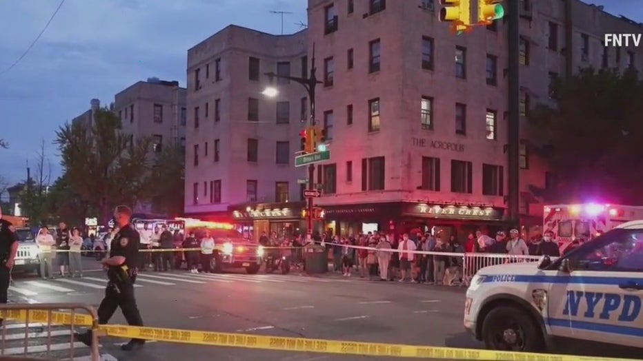 A man on a scooter was killed in Astoria after he was struck by a vehicle before crashing into an outdoor dining structure.