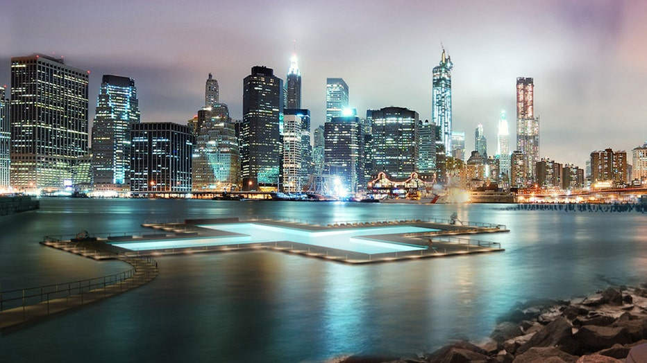 An artist's rendering of a 'plus' shaped pool floating in the East River with the Manhattan skyline behind it