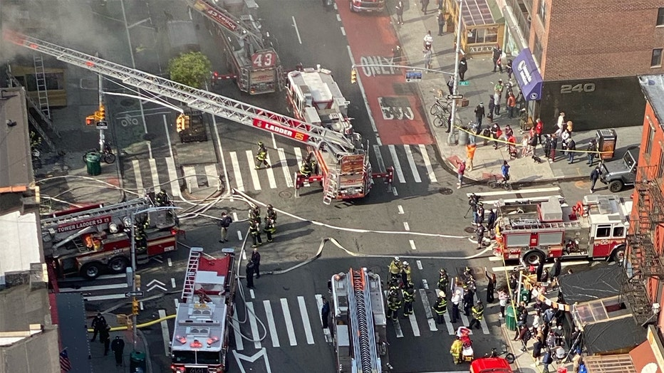 FDNY trucks block the intersection of 82nd St. and 2nd Ave. in Manhattan.