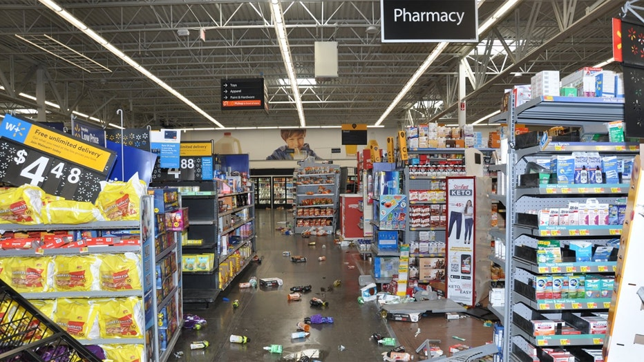The police department released photos showing damage in the Walmart. (Concord Police Dept.)