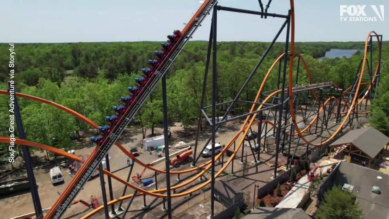 Video Jersey Devil Roller Coaster S First Test Run At Six Flags In Nj