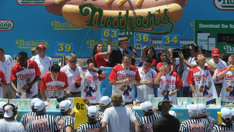 """Joey """"Jaws"""" Chestnut wins the 2019 Nathans Famous Fourth of July International Hot Dog Eating Contest"""