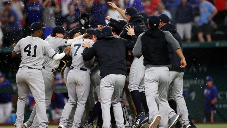 The New York Yankees celebrate a no-hitter by Corey Kluber #28