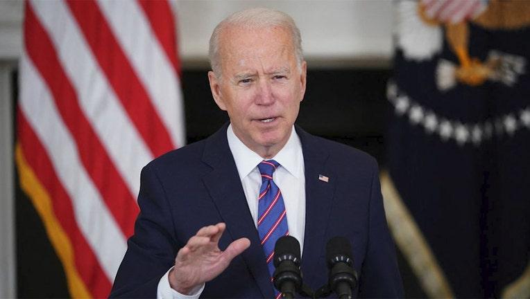 US President Joe Biden speaks in the White House in Washington, DC, on April 2, 2021.