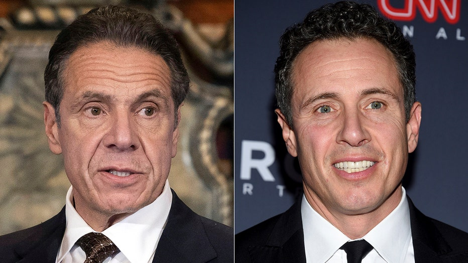 Closeup images of Gov. Andrew Cuomo (left) and his brother Chris Cuomo