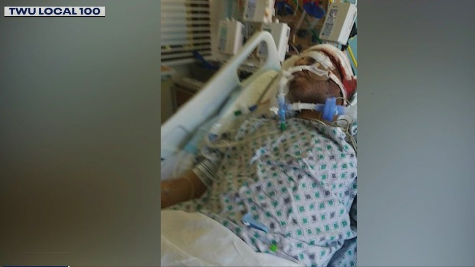 An off-duty subway conductor was slashed in the face with an orange box cutter.