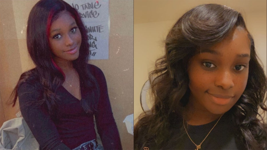 2 photos of a young black woman; left photo shows dark hair with red highlights