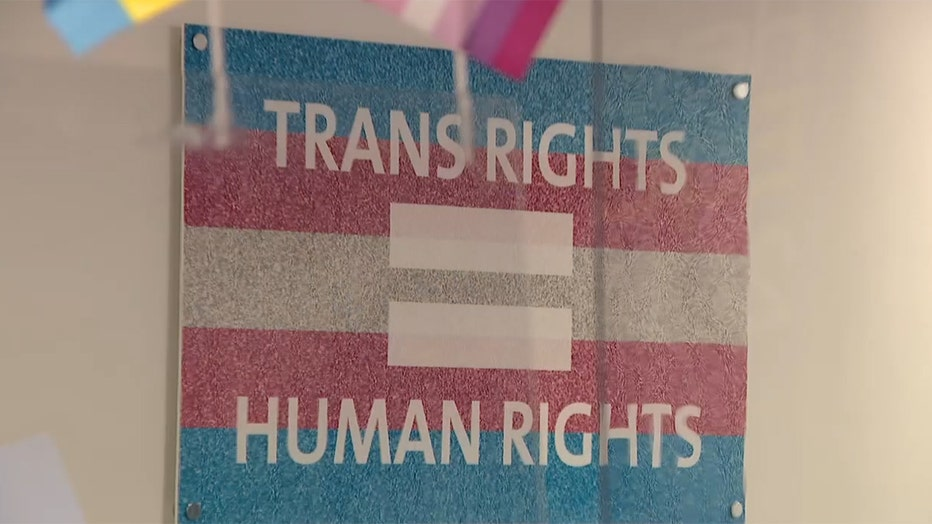 """Poster that reads """"TRANS RIGHTS = HUMAN RIGHTS"""""""