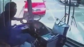 Video shows MTA bus colliding with vehicles, townhouse