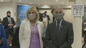 First Lady Jill Biden, Dr. Anthony Fauci visit vaccine clinic in Harlem