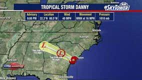 Danny weakens to Tropical Depression after making landfall on South Carolina coast