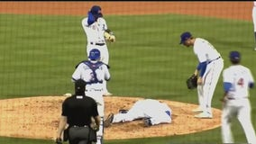 Minor league pitcher hospitalized after line drive hits him in head