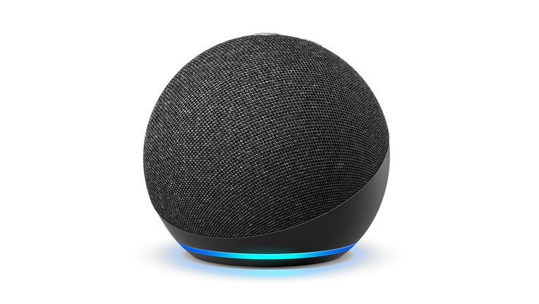 A spherical charcoal gray Amazon Echo Dot device with a ring of blue light at the base