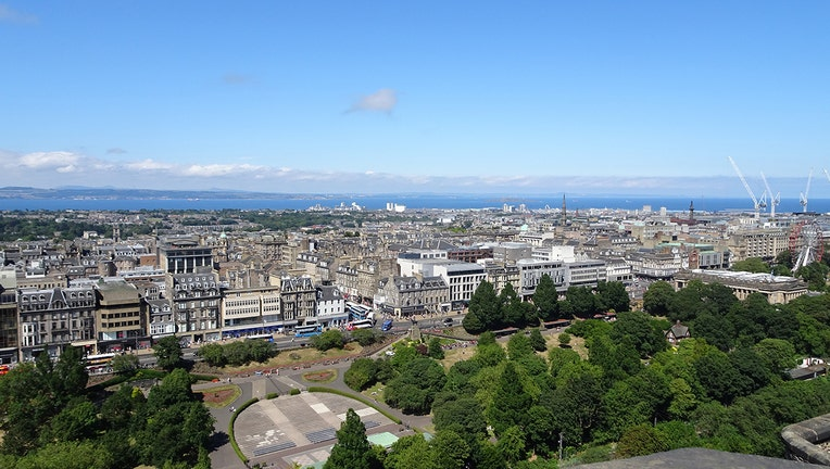 City of Edinburgh seen from atop a hill