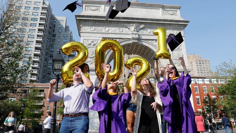 Students Celebrate Graduation At Washington Square Park
