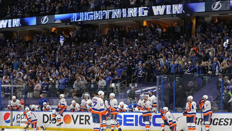 The New York Islanders react after their 1-0 loss against the Tampa Bay Lightning